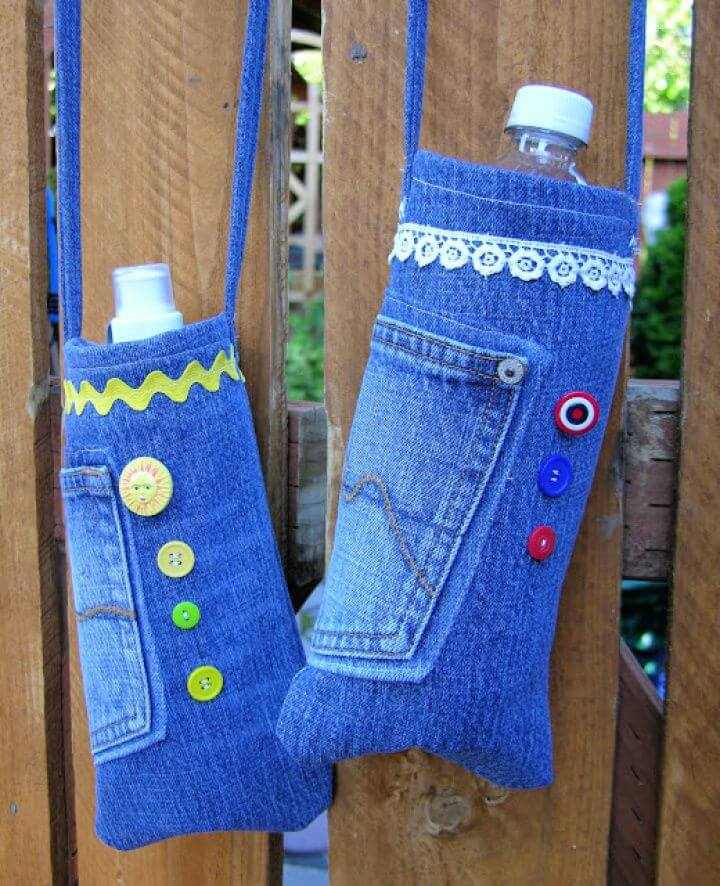 How To Repurposed Denim Water Bottle Bags