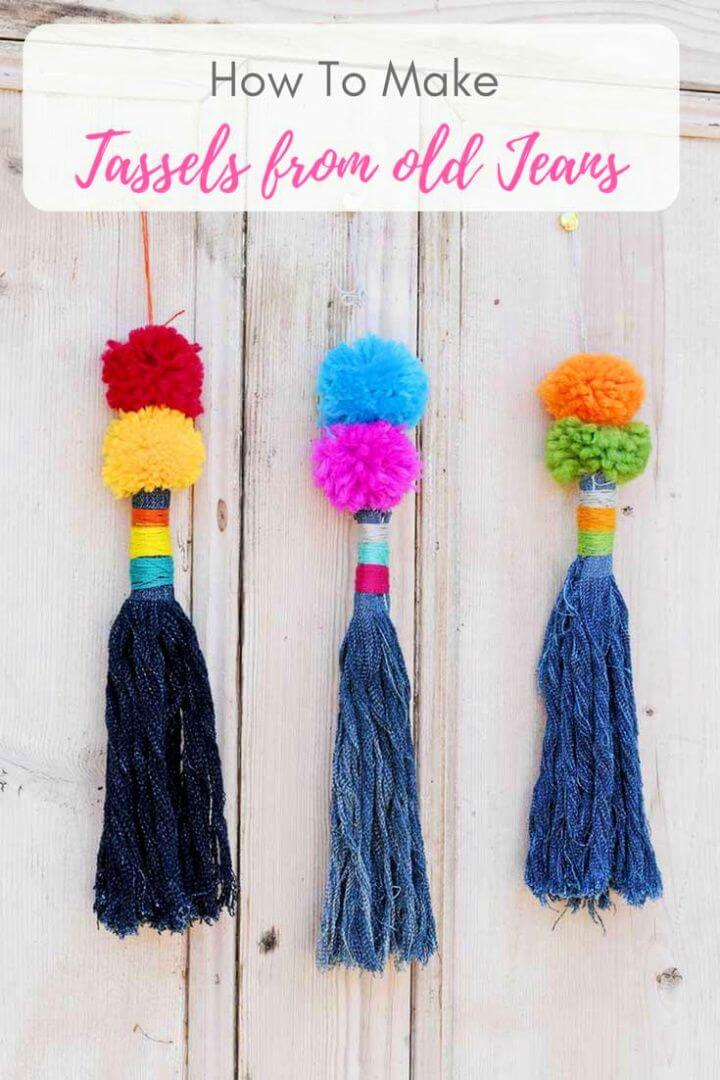 How to Make Tassels From Upcycled Jeans With Pom Poms