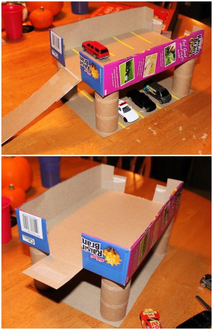 Make A DIY Cereal Box Parking Garage