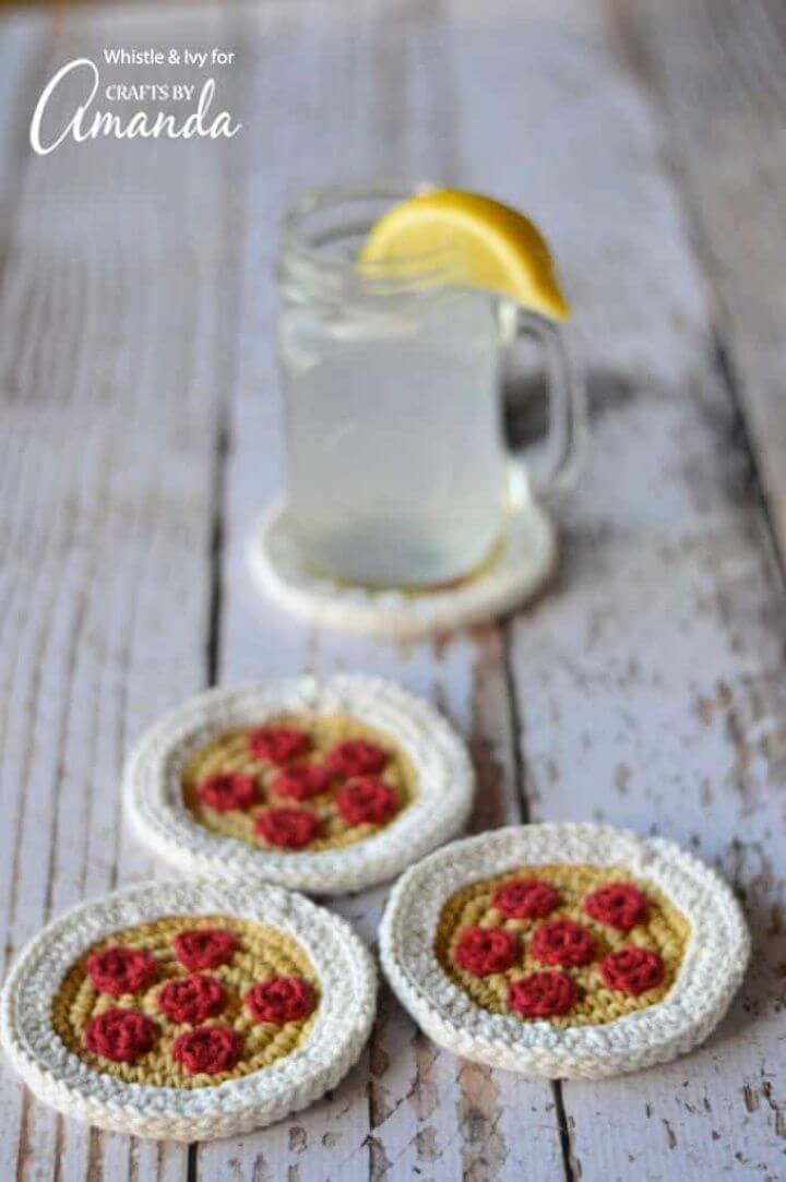 Make A DIY Crochet Pizza Coasters