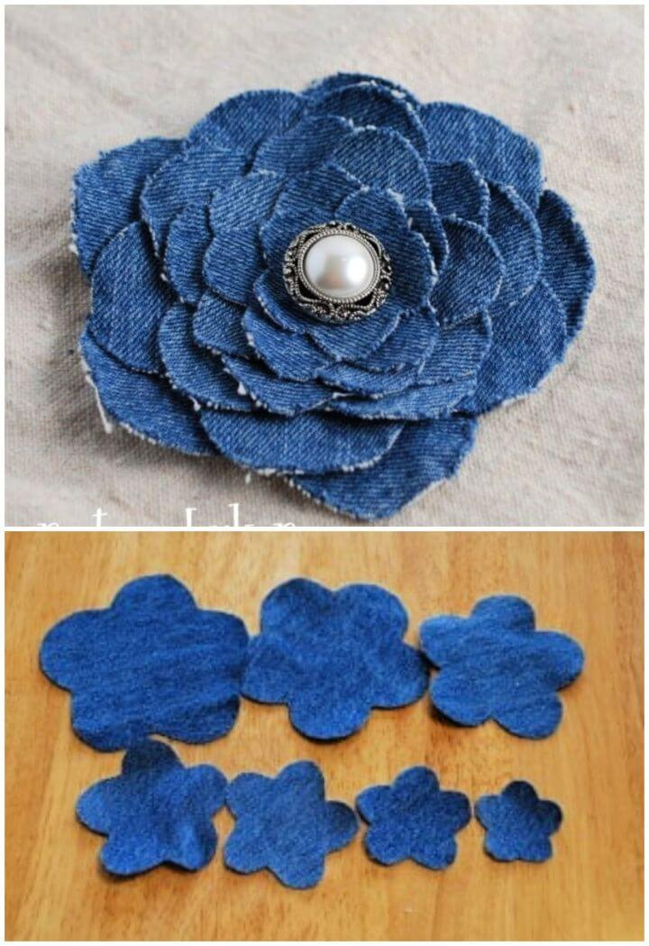 Make A DIY Denim Flower From Old Jeans