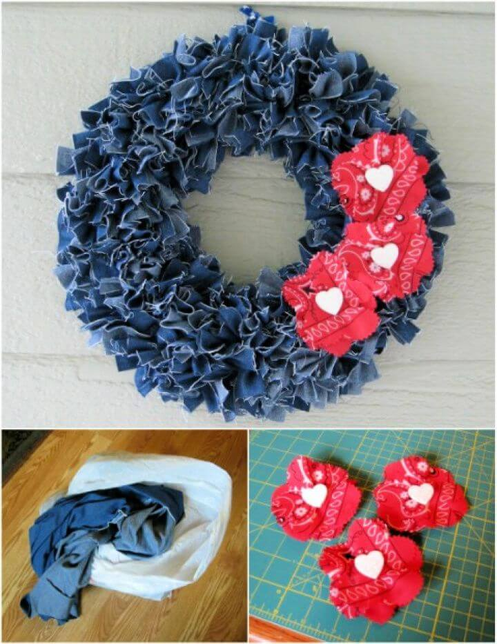 Make A DIY Denim Wreath