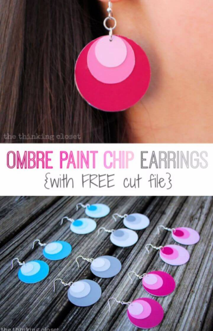 Make A DIY Ombre Paint Chip Earrings