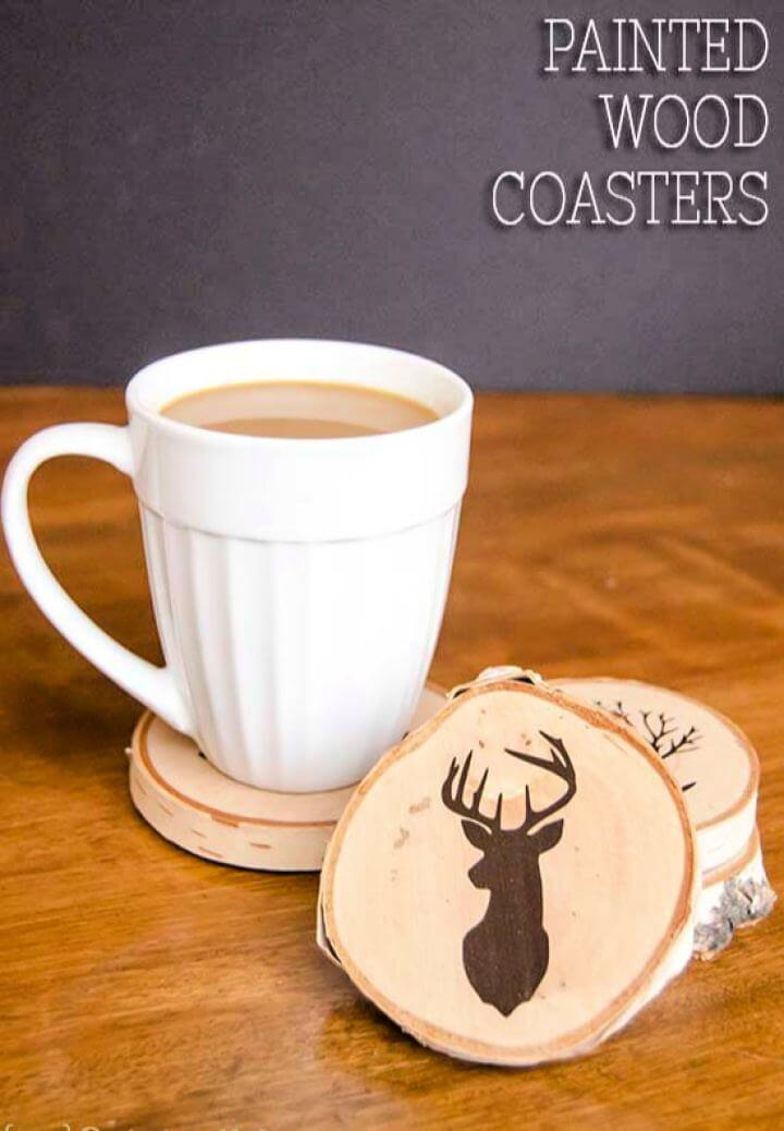 Make A DIY Painted Wood Slice Coasters For Men