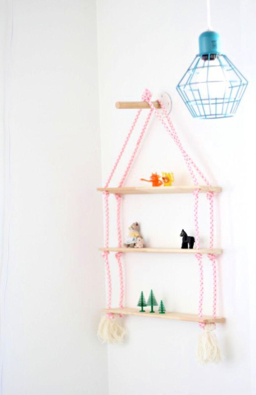 Make A DIY Rope Nursery Shelving