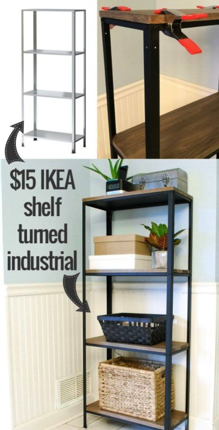Make A DIY Wood And Metal IKEA Hack Industrial Shelf