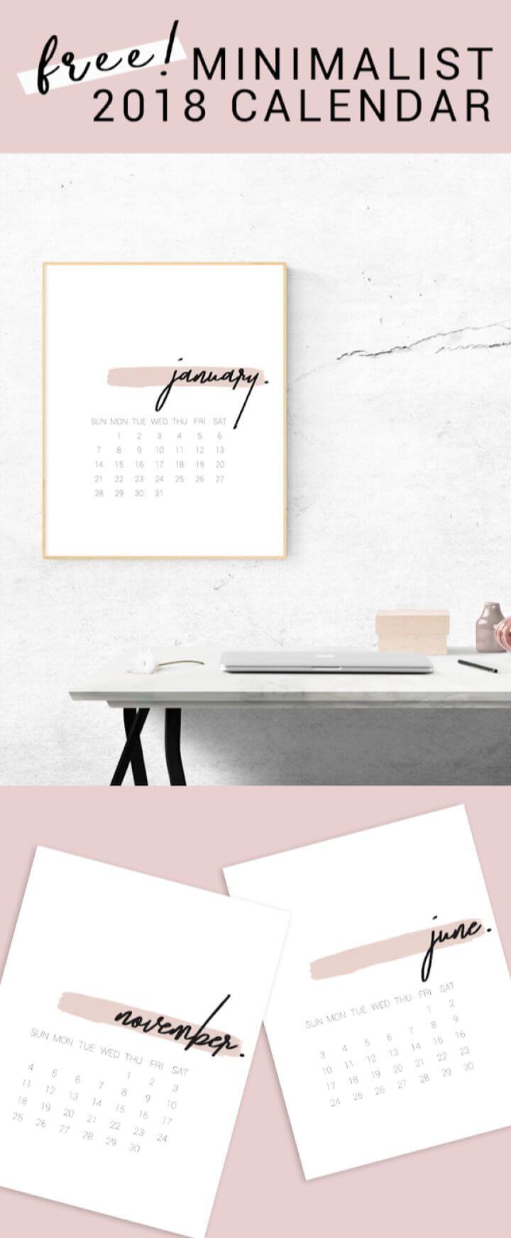 Make Your Own DIY 2018 Minimal Calendar