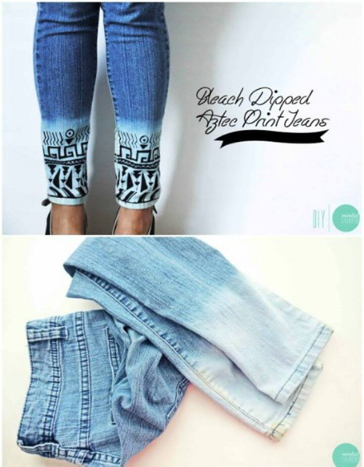 Make Your Own DIY Bleach Dipped Aztec Jeans