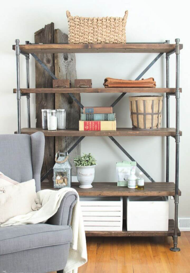 Make Your Own DIY Industrial Pipe Shelving Unit