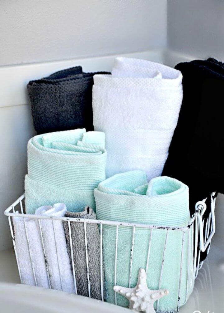 Make Your Own Wire Basket Bathroom Towel Storage