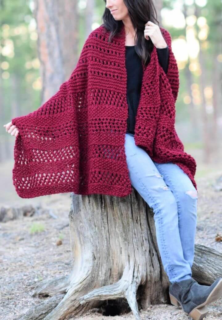 Merlot Alpaca Wrap Shawl Knitting Pattern