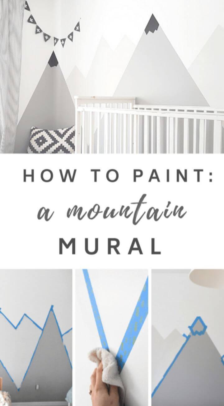 Paint A DIY Nursery Mountain Mural