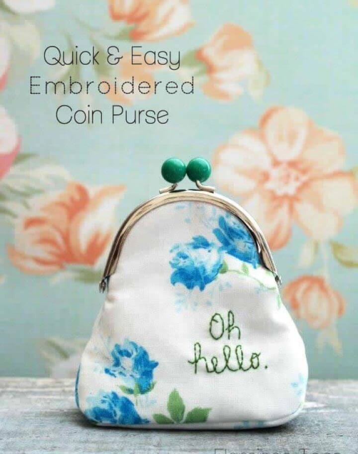 Quick and Easy DIY Embroidered Coin Purse