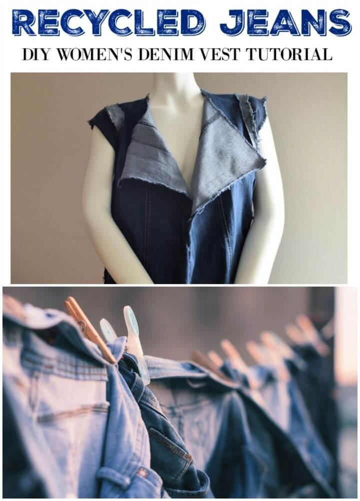 Recycled Jeans DIY Women's Denim Vest