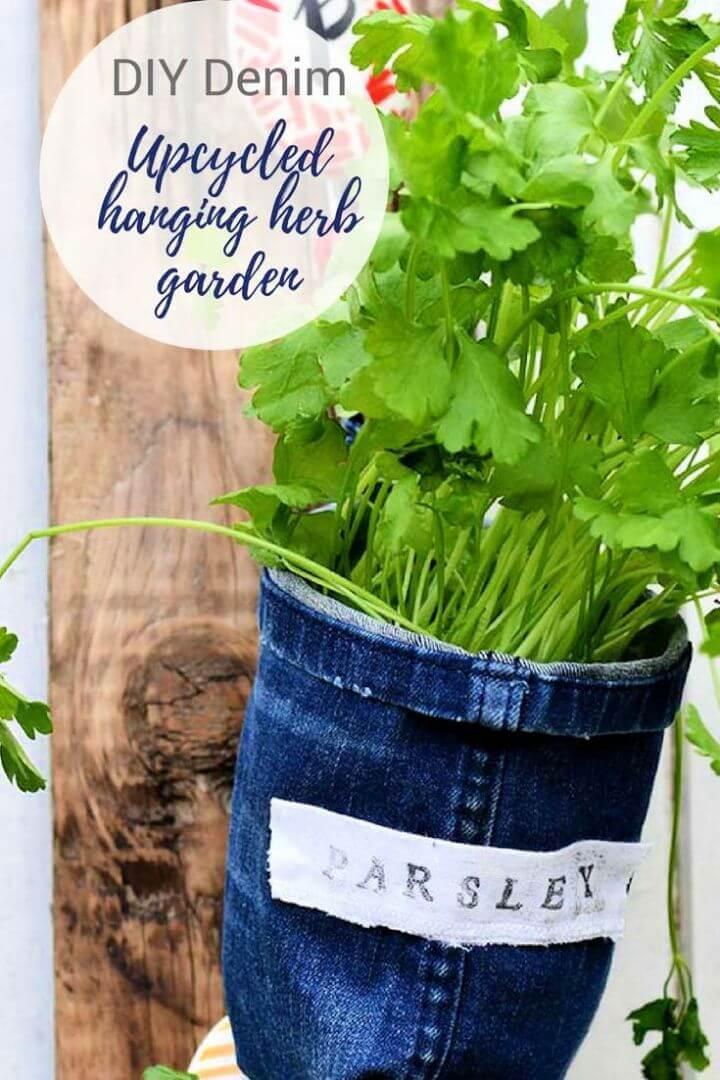 Repurposed Jeans Into Indoor Herb Garden Planters