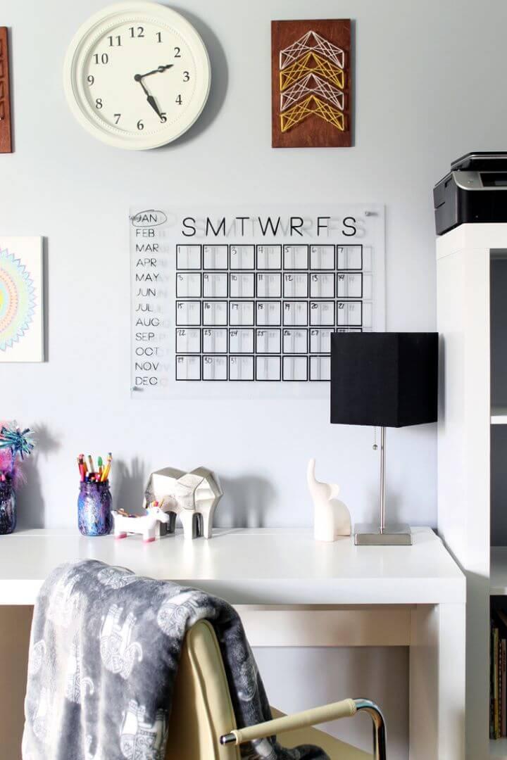 Simple DIY Acrylic Calendar for Organizing