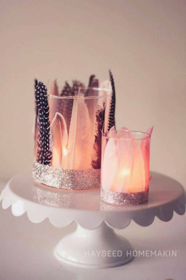 Simple DIY Feathered Votive Holders