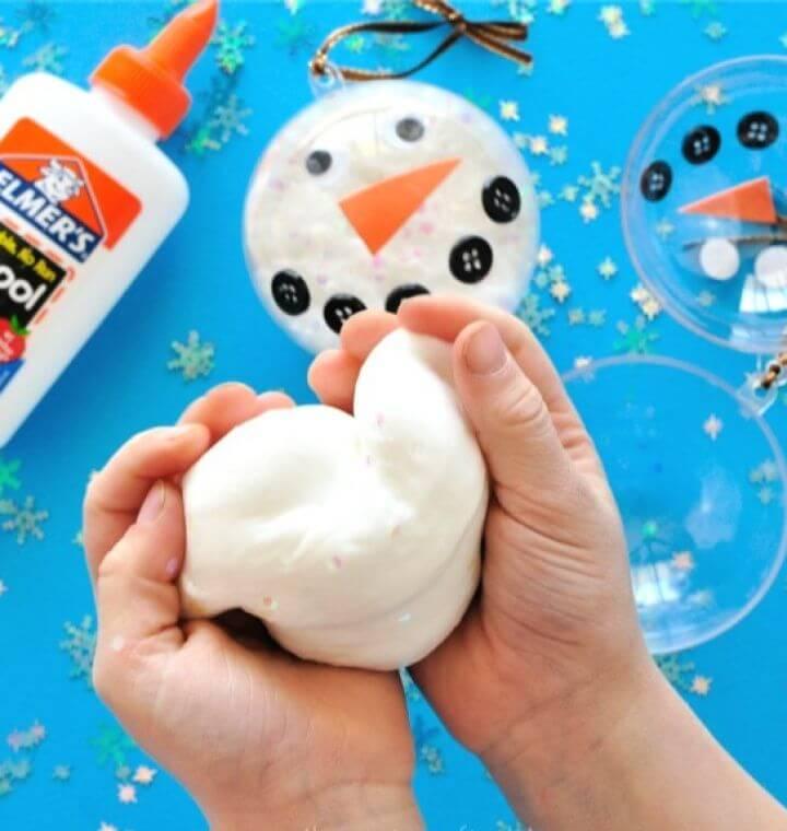 Simple DIY Glittery Snow Slime Recipe