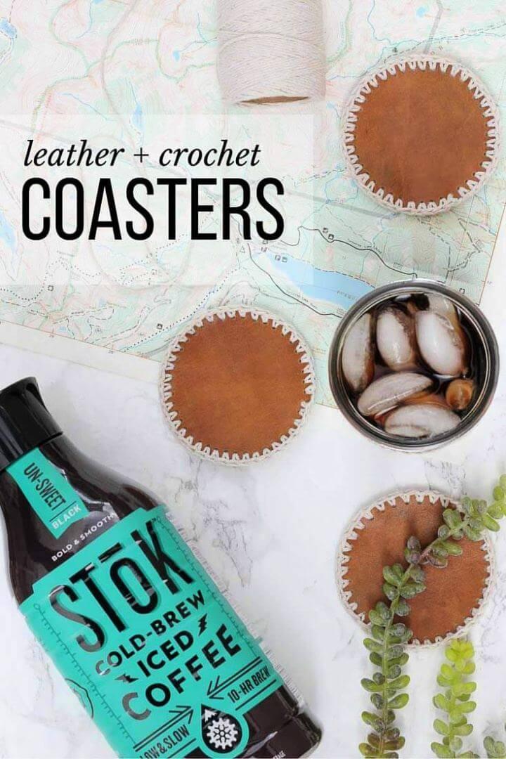 Simple DIY Leather Crochet Coasters