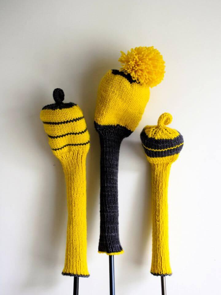 Simple DIY Loop Knit Golf Club Covers