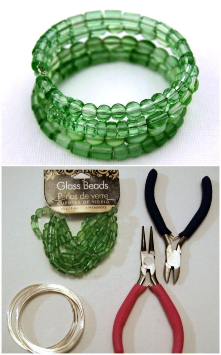 Simple DIY Monochromatic Memory Wire Bracelet