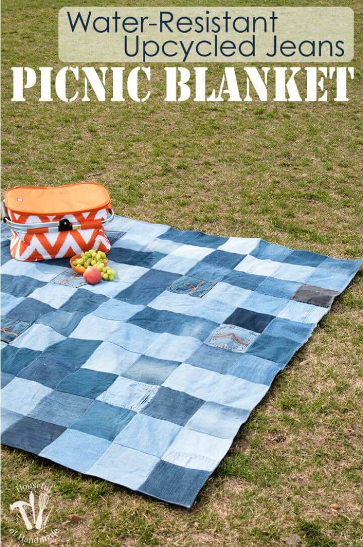Simple DIY Resistant Upcycled Jeans Picnic Blanket