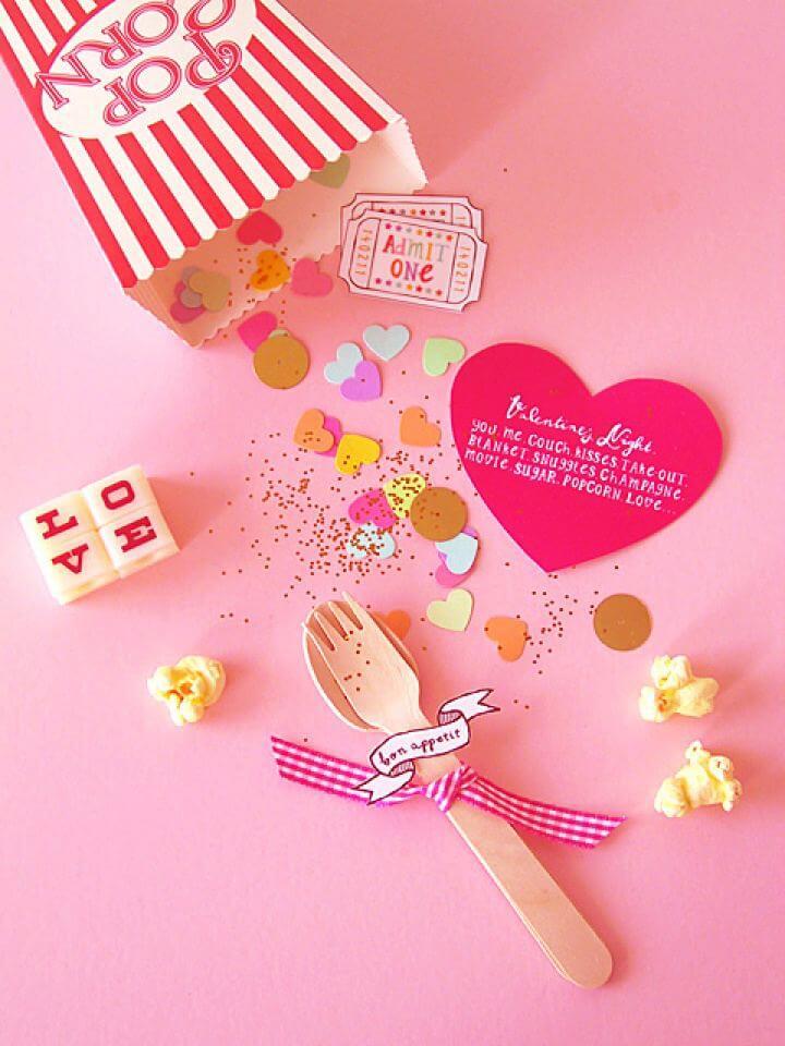 Simple DIY Valentine Popcorn Invitation For A Cosy Night