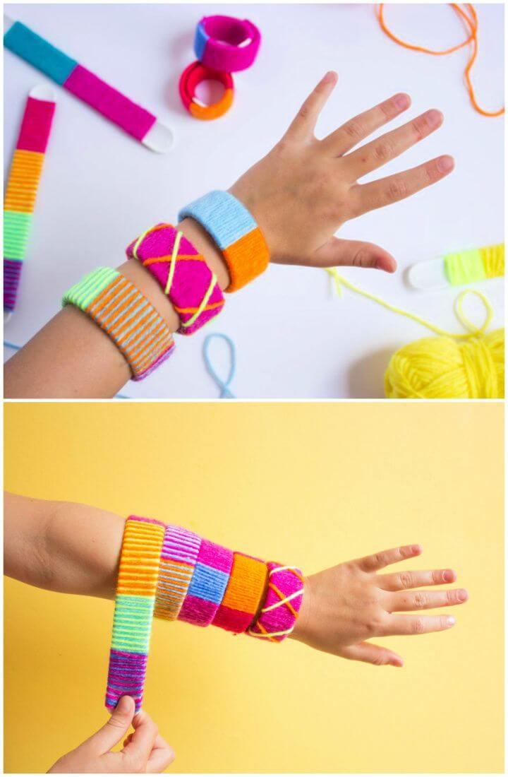 Yarn Wrapped DIY Slap Bracelets