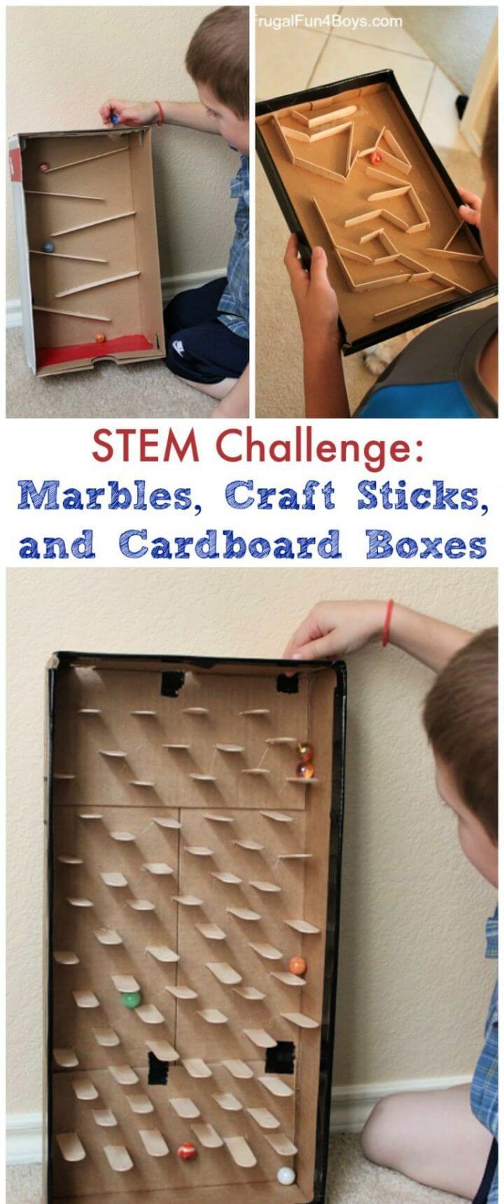 Build A DIY Marble Run With Craft Sticks