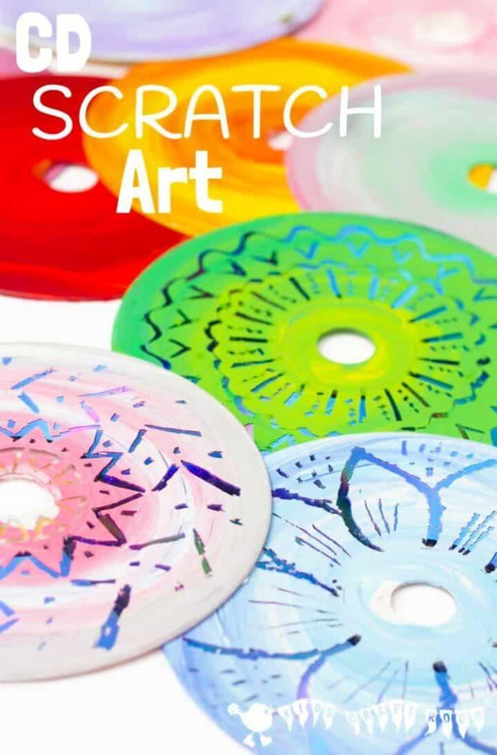 Colourful DIY CD Scratch Art