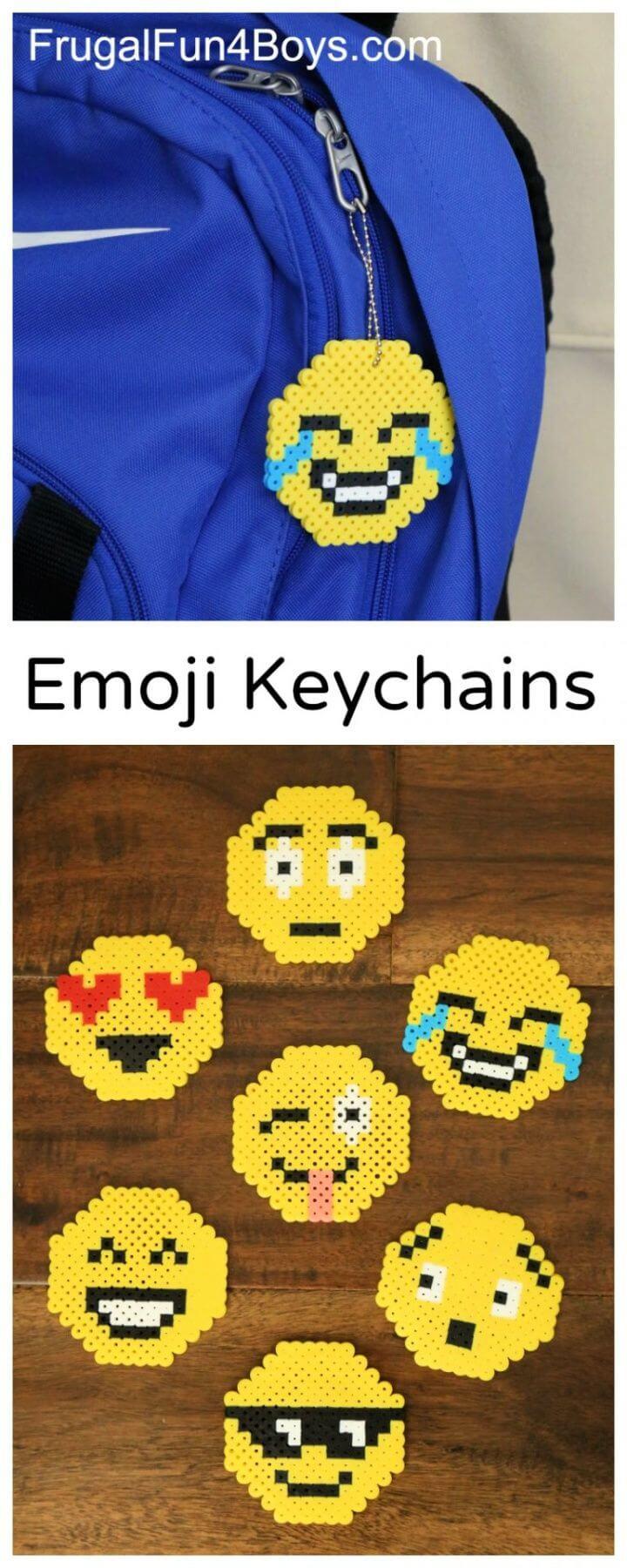 DIY Emoji Perler Bead Keychains