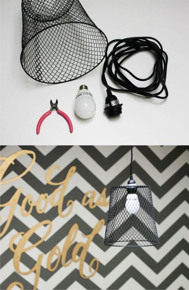 DIY Lamp From A Metal Basket
