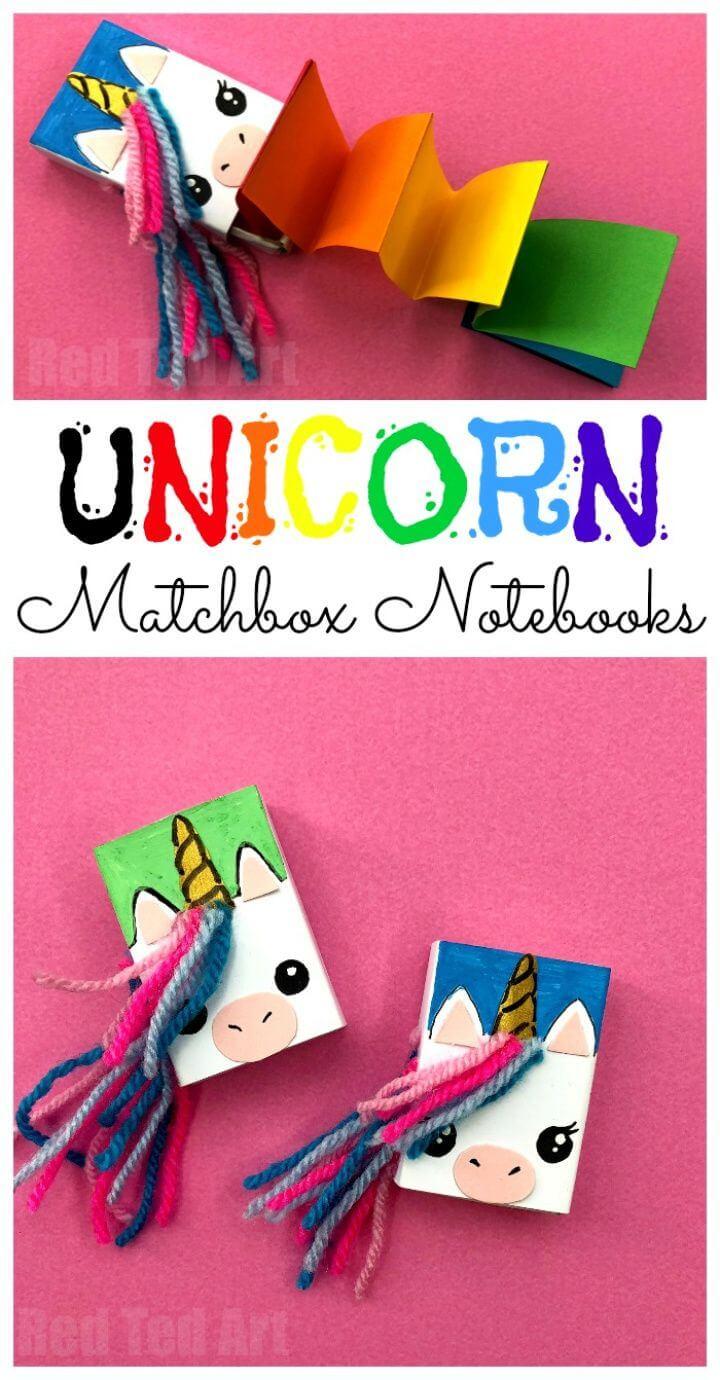 DIY Matchbox Unicorn Notebook