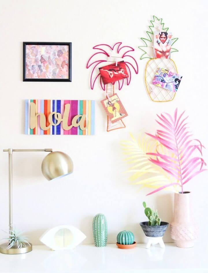 DIY Pineapple And Palm Tree Postcard Display Craft