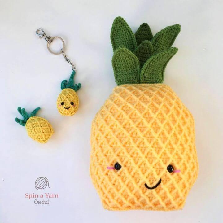 DIY Pineapple Keychain Free Crochet Pattern