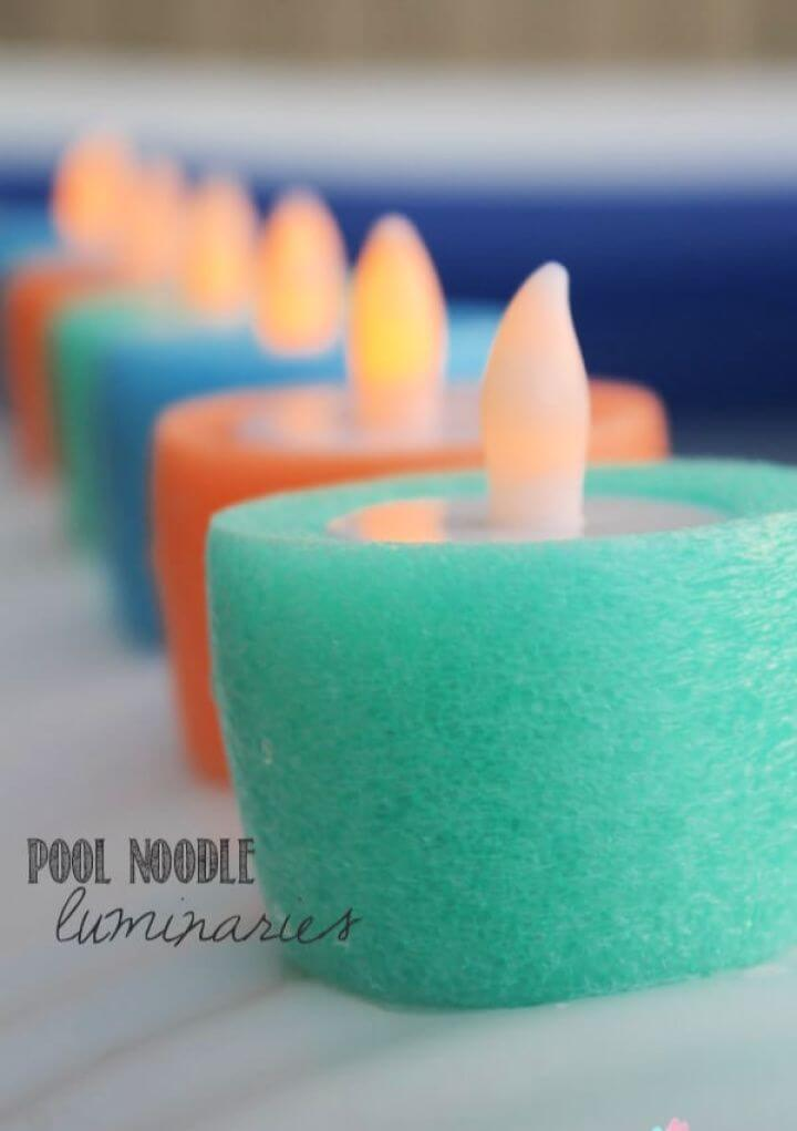 DIY Pool Noodle Luminaries for Summer