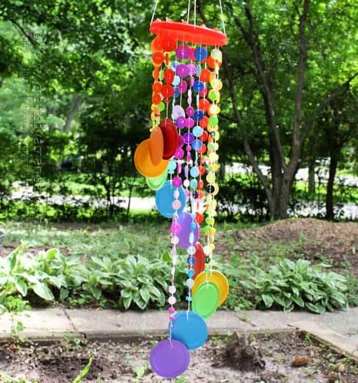 DIY Rainbow Button Wind Chime