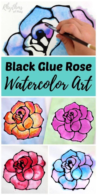 DIY Rose Watercolor Resist Art Project