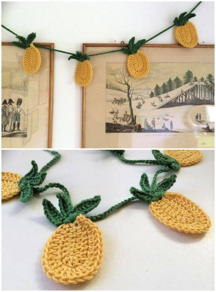 DIY Tropical Pineapple Bunting Free Crochet Pattern