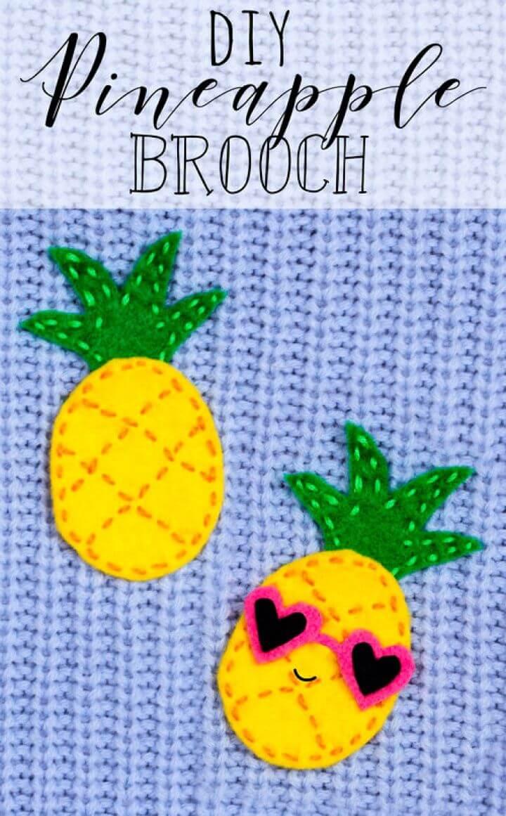 Easy DIY Pineapple Brooch Sewing Craft