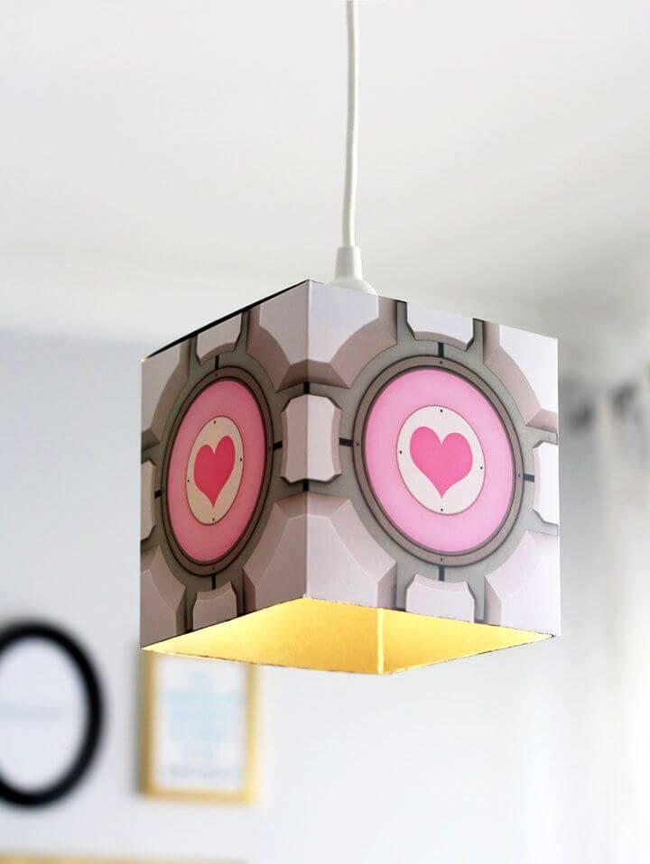 Easy DIY Portal Companion Cube Pendant Lamp