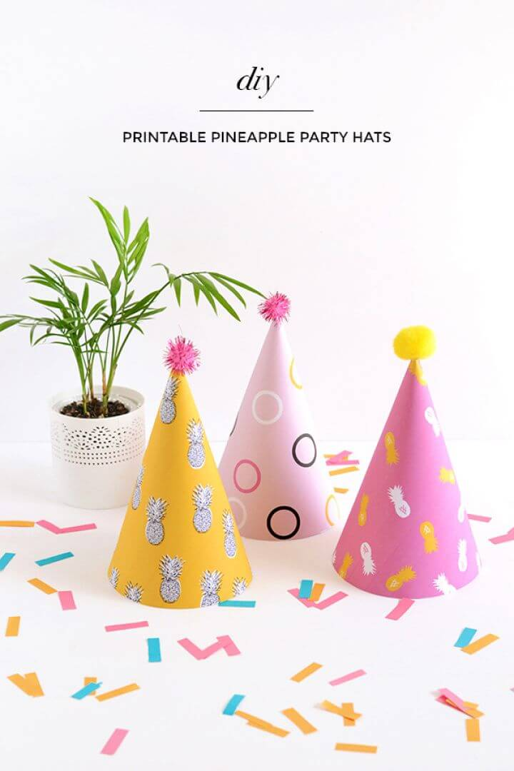 Easy DIY Printable Pineapple Party Hats