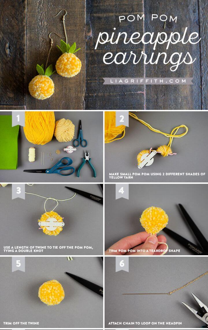How To DIY Pom Pom Pineapple Earrings