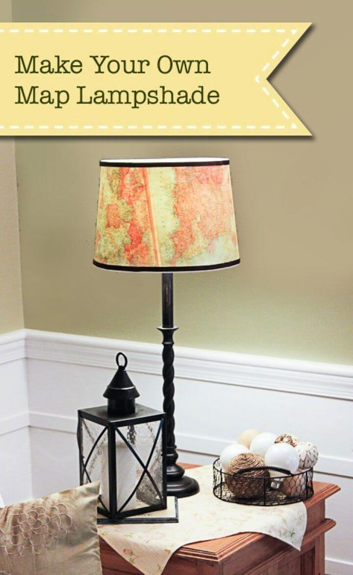 How To DIY Vintage Map Lampshade