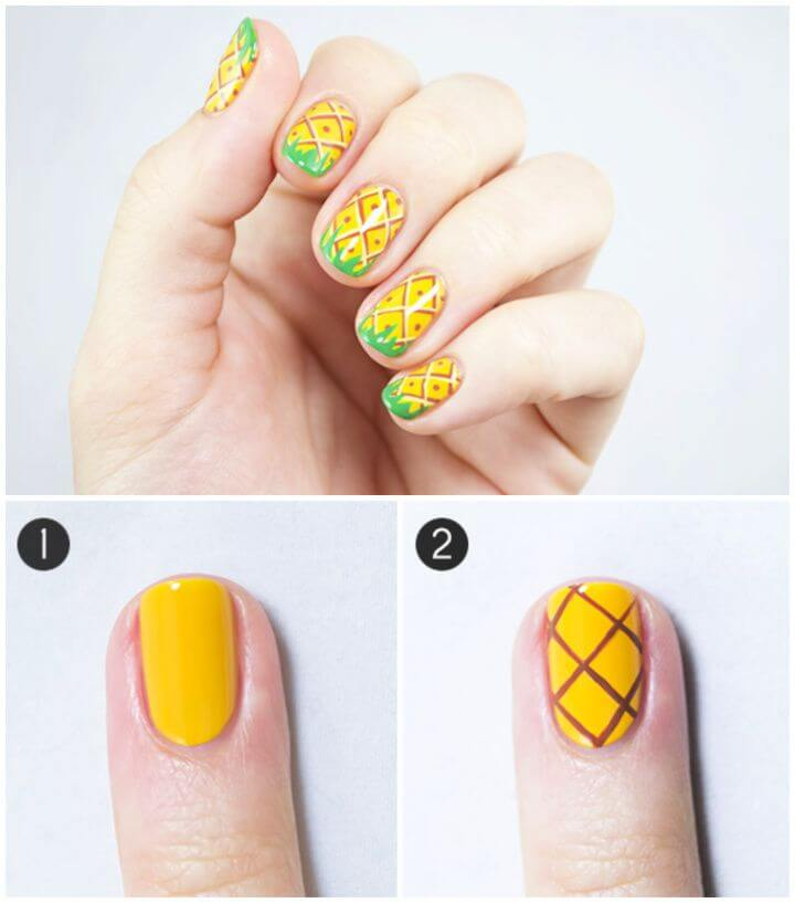 Make A DIY Pineapple Party Nail Art