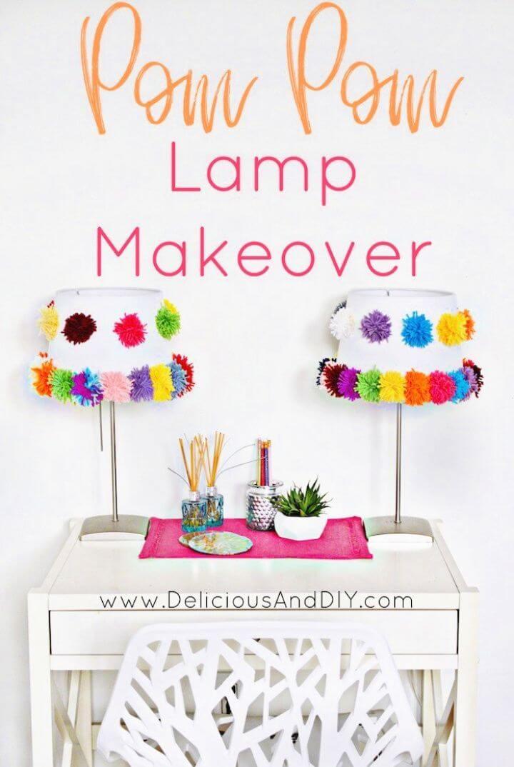 Make A DIY Pom Pom Lamp Makeover