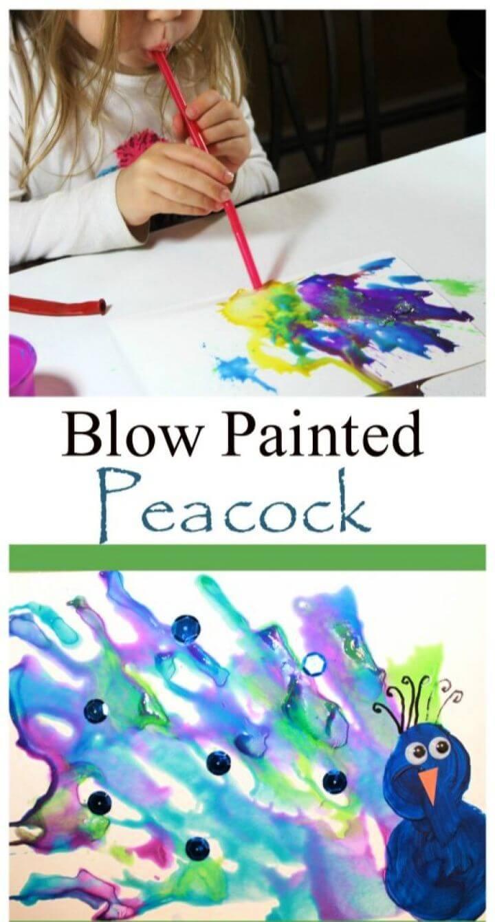 Make A DIY Straw Blown Peacock Painting