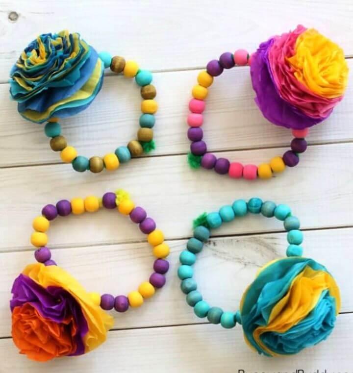 Make A DIY Tissue Paper Flower Bracelet Craft for Kids