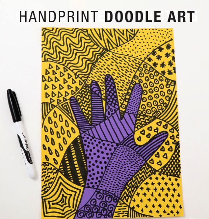 Simple DIY Handprint Doodle Art