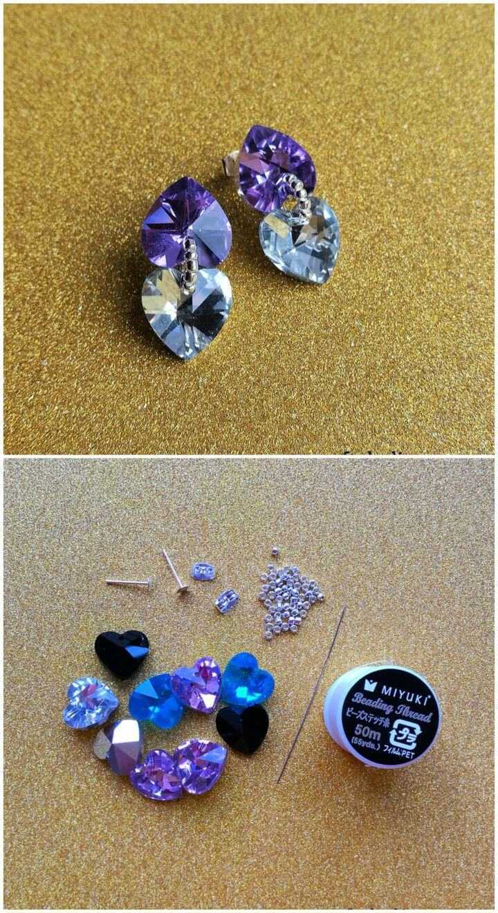 Adorable DIY Crystal Heart Glam Earrings Tutorial